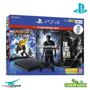 PS4 500GB BLACK + Ratchet & Clank + The Last of Us Remastered + Uncharted 4